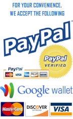 We accept Paypal, Visa, MasterCard, Discover and GoogleCheckout